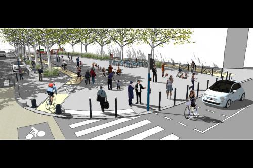 Perspective du futur aménagement de la place Salengro - © Ville de Montpellier.