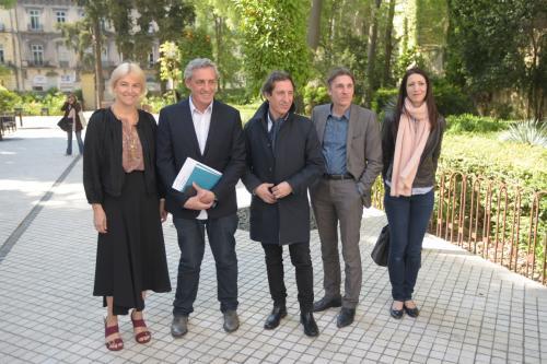 De gauche à droite : Vanessa Bruno, Philippe Saurel, Philippe Saurel, Philippe Chiambaretta, Nicolas Bourriaud, Sonia Kerangueven - Crédit : Montpellier Mediterannée Métropole