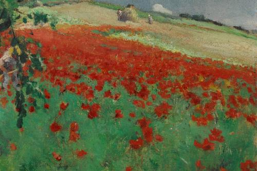 William Blair Bruce (1859–1906) Paysage avec coquelicots 1887. huile sur toile 27,3 × 33,8 cm. Musée des beaux-arts de l'Ontario, Toronto. Acheté avec le concours de Wintario, 1977 (77/42)