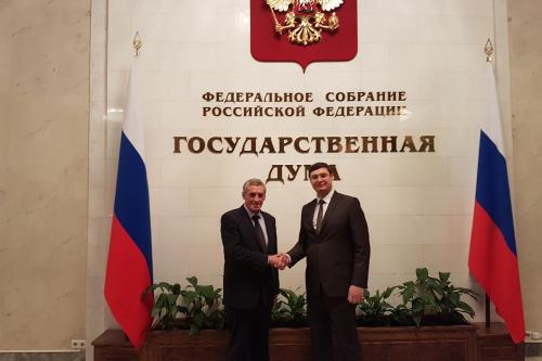 Philippe SAUREL et le député russe, Alexandre AVDEEV à la Douma